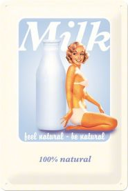 Placa metalica 20X30 Pin Up - Milk