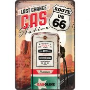 Placa metalica 20X30 Route 66 - Gas Station
