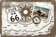 Placa metalica 20X30 Route 66 - Map