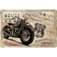 Placa metalica 20x30 Route 66 Bike Map