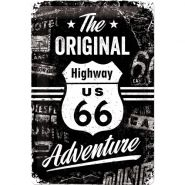 Placa metalica 20X30 Route  66 The Original Adventure