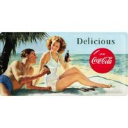 Placa metalica 25X50 Coca-Cola - Beach Couple
