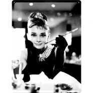 Placa metalica 30X40 Audrey Hepburn Breakfast Tiffanys