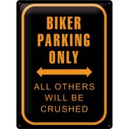 Placa metalica 30X40 Biker Parking Only