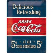 Placa metalica 30X40 Coca-Cola - Delicious Refreshing Blue