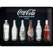 Placa metalica 30x40 Coca-Cola Bottle Timeline Black metalizat