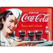 Placa metalica 30X40 Coca-Cola Waitress