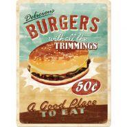 Placa metalica 30X40 Delicious Burgers