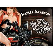 Placa metalica 30X40 Harley-Davidson Biker Babe Red