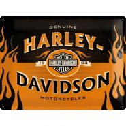 Placa metalica 30x40 Harley-Davidson logo Orange