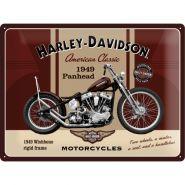 Placa metalica 30X40 Harley-Davidson Panhead