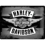Placa metalica 30X40 Harley-Davidson-Wings Logo Metal