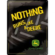 Placa metalica 30X40 John Deere - Nothing Runs Like a Deere - Black