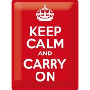 Placa metalica 30X40 Keep calm and carry on