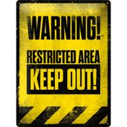 Placa metalica 30X40 Warning! Restricted Area Keep Out