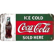Placa metalica cu snur 10x20 Coca-Cola Ice Cold