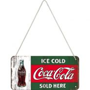 Placa metalica cu snur 10x20 Coca-Cola Ice Cold