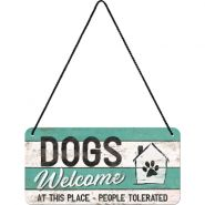 Placa metalica cu snur 10x20 Dogs welcome