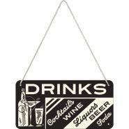 Placa metalica cu snur 10x20 Drinks