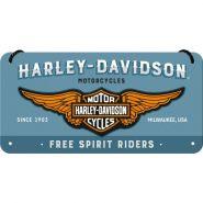 Placa metalica cu snur 10x20 Harley-Davidson logo albastru