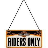 Placa metalica cu snur 10x20 Harley-Davidson Riders only