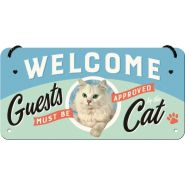 Placa metalica cu snur 10x20 Welcome Cat
