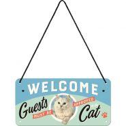 Placa metalica cu snur 10x20 Welcome Cat