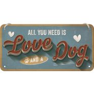 Placa metalica cu snur 10x20 Love Dog