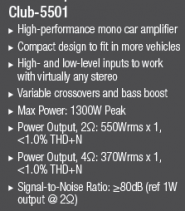 AMPLIFICATOR MONO JBL CLUB-5501