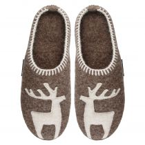 Papuci de casa din lana, model Vivi, unisex, bej inchis  36