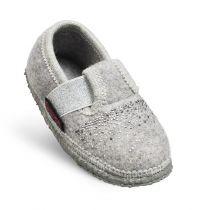 Papuci de casa Taben, din lana, model fetite, gri deschis 23