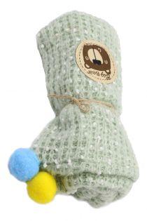 Fular circular pentru copii, cu pompom, captuseala lana