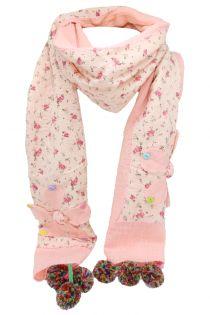 Fular pentru copii,cu aplicatie floare si pompom, din in si bumbac