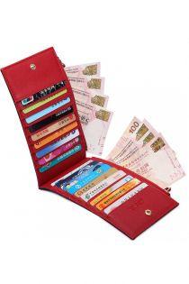 Portofel pentru dama,18 compartimente pentru carduri si 2 pentru bancnote, rosu LP1690 RD
