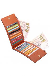 Portofel pentru dama,18 compartimente pentru carduri si 2 pentru bancnote, maro LP1690 BN