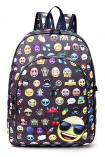 Rucsac pentru copii, emoticon, gri, cu penar si portofel E6629-1 GY