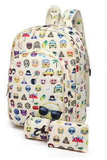 Rucsac pentru copii, emoticon, bej, cu penar si portofel E6629-1 BG