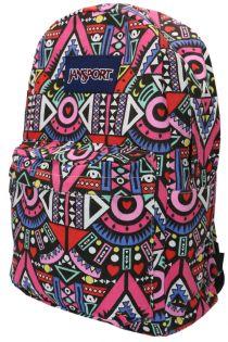 Rucsac din material textil cu ornament Z-55-2 Negru + Roz
