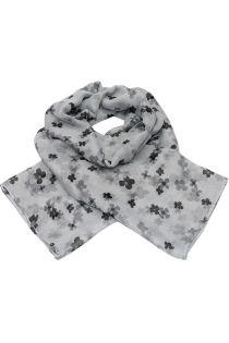 Esarfa pentru femei, din polyester subtire, primavara toamna, cu print flori , negru gri Li033-1