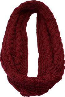 Fular circular,tricotat, pentru femei, din poliester, supradimensionat, toamna iarna, bordo, ZR-6-4