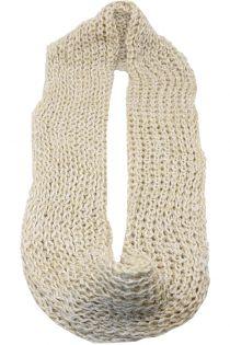 Fular circular,tricotat, pentru femei, din poliester,supradimensionat,toamna iarna, 2 culori,alb bej, ZR-2-1