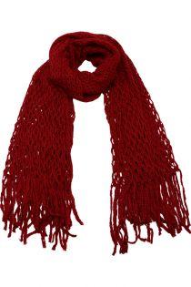 Fular pentru femei, tricotat subtire , cu franjuri, pentru perioada rece a anului, rosu, ZR-11-2