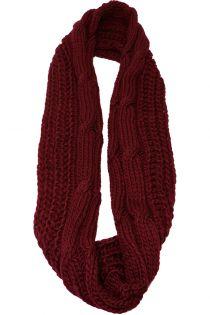Fular circular,tricotat, pentru femei, din poliester,supradimensionat,toamna iarna, bordo, ZR-5-1