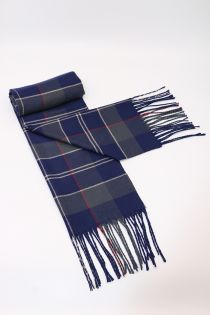 Fular pentru barbati in carouri, pentru perioada rece, cu franjuri, albastru, ZS-27