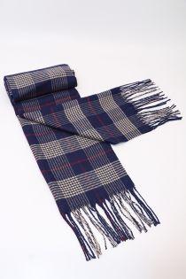 Fular, pentru barbati, in carouri mici, pentru perioada rece, cu franjuri, albastru , ZS-3-1 Achim