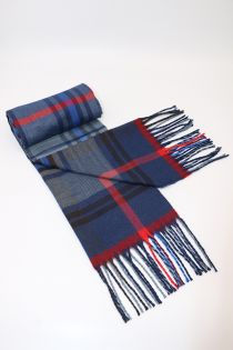 Fular in carouri tip madras, pentru perioada rece, cu franjuri, albastru, ZS-24, Alexei
