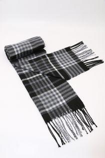 Fular pentru barbati in carouri, pentru perioada rece, cu franjuri, negru, ZS-26
