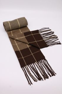 Fular pentru barbati, in carouri windowpane, pentru perioada rece, cu franjuri, maro, ZS-11-3 Ahmed