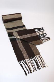 Fular pentru barbati, in carouri tip madras linii mari, pentru perioada rece, cu franjuri, maro , ZS-1-3, Abel