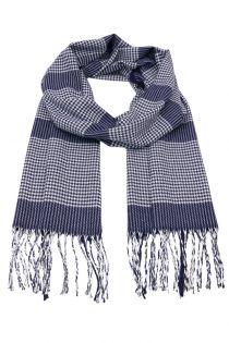 Fular pentru barbati, in carouri Houndstooth, pentru perioada rece, cu franjuri, albastru deschis, ZS-18-2, Aldo